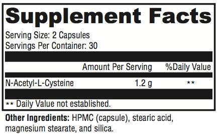 N-Acetyl Cysteine Supplement Facts