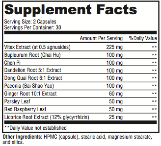PMS Revolution Supplement Facts