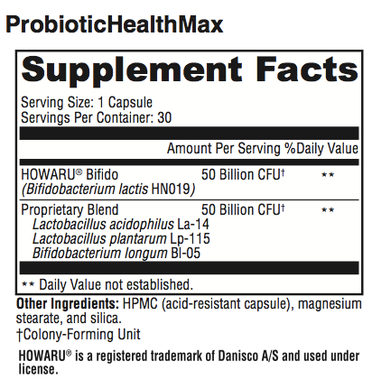 ProbioHealthMax Supplement Facts; Revolution Supplement