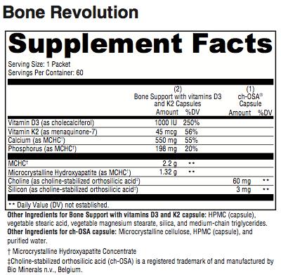 Bone Revolution Supplement Facts