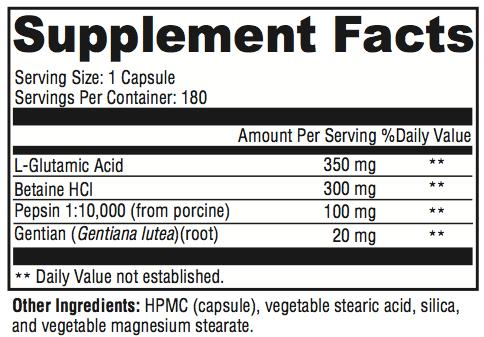 Break It Down Supplement Facts