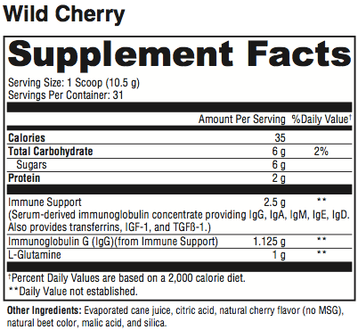 GI Max Supplement Facts (Wild Cherry)