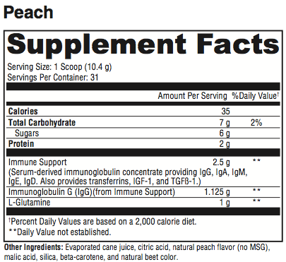 GI Max Supplement Facts (peach)
