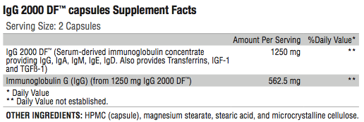 IgG 2000 Supplement Facts; Revolution Supplement
