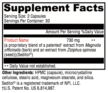 Somnus Supplement Facts; revolution Supplement